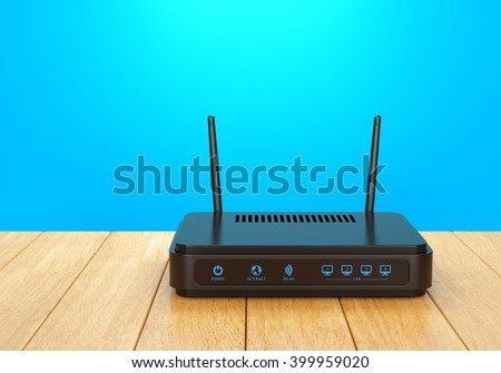 Wireless wi-fi router with two antennas on wooden table. High speed internet connection, computer network and telecommunication technology concept. 3D illustration - stock photo