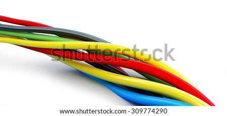 wires color 3d Illustrations on a white background  - stock photo