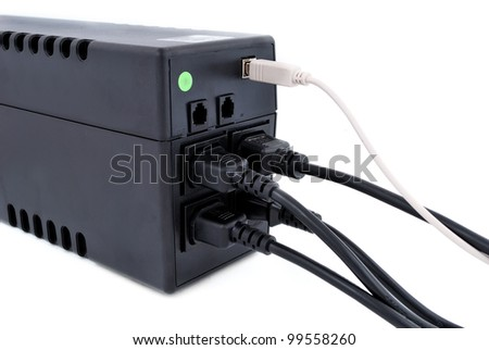 wires connected to an ups on a white background