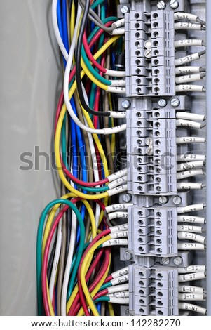 Wiring -- Control panel with wires - stock photo