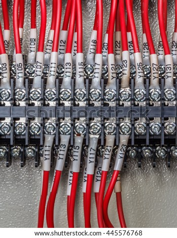 Wiring - Control panel with wires industry - stock photo