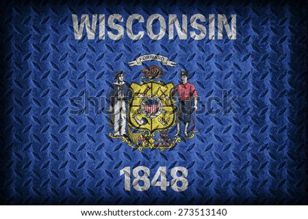 Wisconsin flag pattern on diamond metal plate texture ,vintage style - stock photo