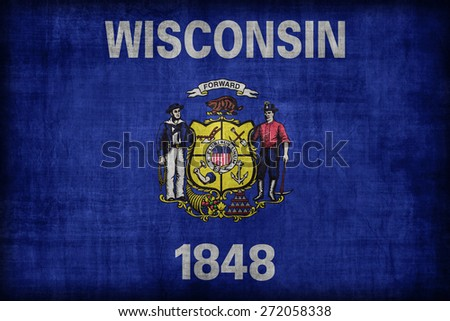 Wisconsin flag pattern, retro vintage style - stock photo