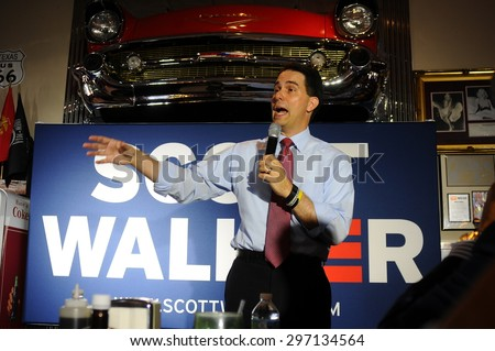 Wisconsin Governor Scott Walker speaks at Joey's Diner in Amherst, New Hampshire, on July 16, 2015.  - stock photo