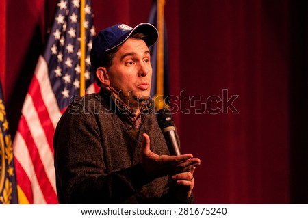 Wisconsin Governor Scott Walker speaks in Concord, New Hampshire, on March 14, 2015. - stock photo