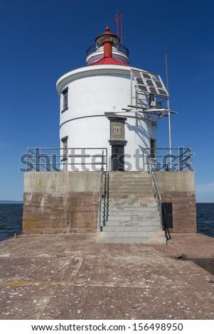 Wisconsin Point Lighthouse On Lake Superior - stock photo