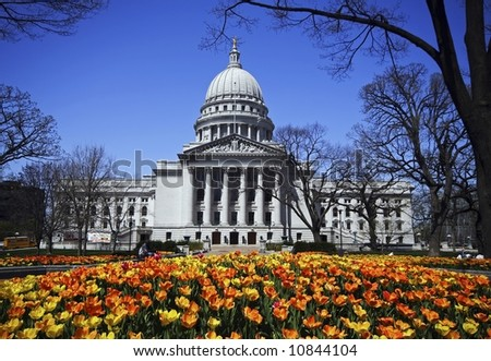Wisconsin State Capitol Spring Tulips - stock photo