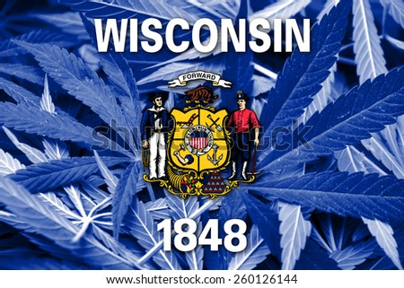 Wisconsin State Flag on cannabis background. Drug policy. Legalization of marijuana - stock photo