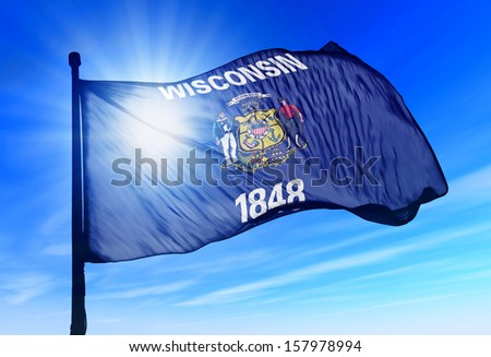 Wisconsin (USA) flag waving on the wind - stock photo