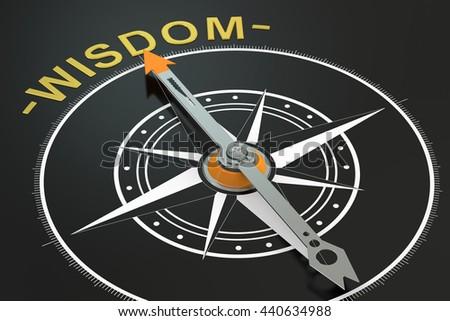 Wisdom compass concept, 3D rendering - stock photo