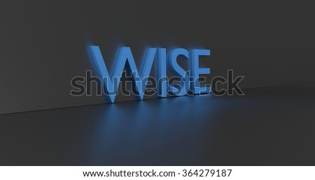 Wise concept word - blue text on grey background.