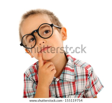 Wise little boy thinking, wearing big glasses - stock photo