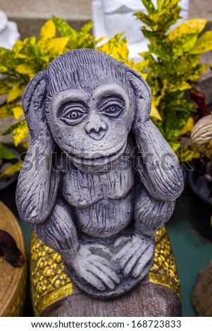 Wise monkey in temple