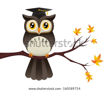 Wise old owl cartoon concept illustration. Raster. - stock photo