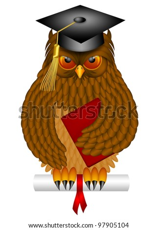 Wise Old Owl with Feathers and Claws Wearing Graduation Cap Holding Diploma Book Illustration Isolated on White Background - stock photo