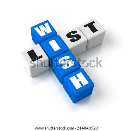 Wish List crosswords. Part of a business concepts series. - stock photo