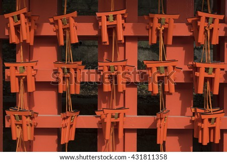 Wishing Wooden Torii at Fushimi Inari Taisha Shrine in Kyoto, Japan - stock photo