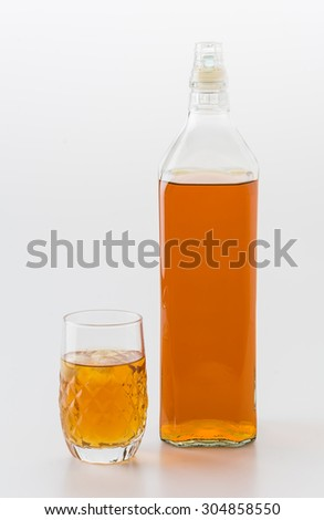 wisky glass  on white background - stock photo