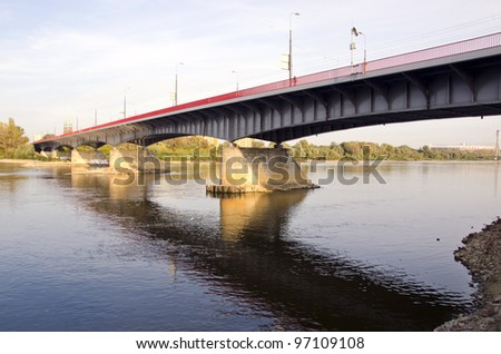 Wisla bridge in Warsaw Poland capital