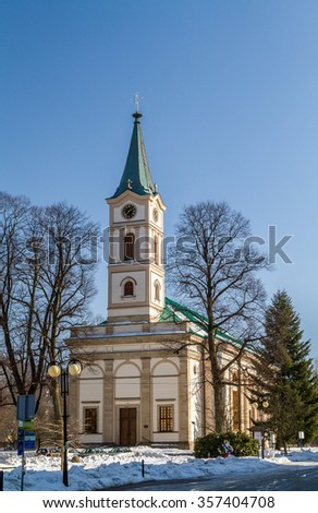 WISLA, POLAND - FEBRUARY 20: Lutheran Church of the Apostles Peter and Paul in Wisla, Poland on February 20, 2015