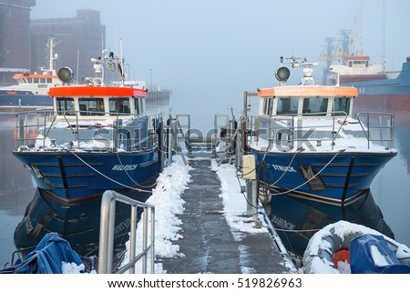 WISMAR, GERMANY - November 9, 2016:  police patrol boats in the port of Wismar.