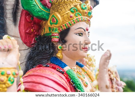 wisnu or narayana statue in wat doi kham, chiangmai , Thailand,statue in religion Thailand , are public domain ,no restrict in copy or use . This photo taken these conditions - stock photo