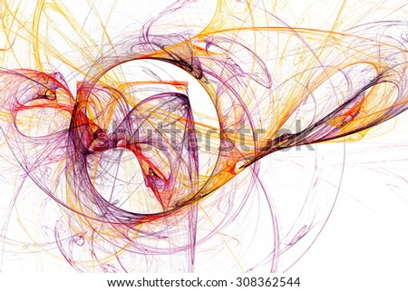 Wisps of colored smoke. Abstract image. Fractal Wallpaper on your desktop. Digital artwork for creative graphic design. Light background.