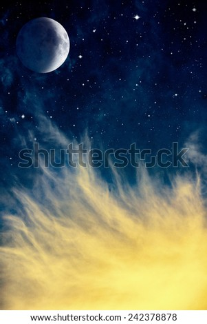 Wispy yellow clouds with the moon and stars at night.  Image displays a distinct paper grain and texture at 100 percent.
