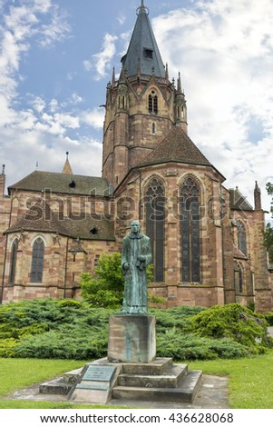 WISSEMBOURG, ALSACE, FRANCE - June 12, 2016: St. Peter and St. Paul's Church in the Historical Center city Wissembourg.