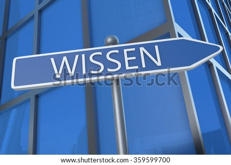 Wissen - german word for knowledge - illustration with street sign in front of office building.
