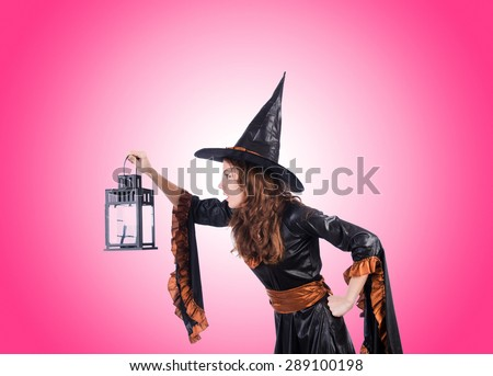 Witch against the gradient background - stock photo