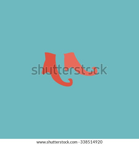 Witch boots. Colored simple icon. Flat retro color modern illustration symbol - stock photo