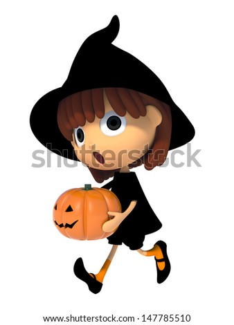 Witch carrying a pumpkin