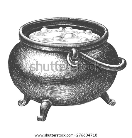 Witch cauldron with potion on a white background - stock photo