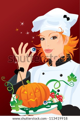 Witch - chef cooking for Halloween party. Raster version - stock photo