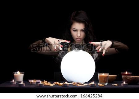 Witch. Focused on hands - stock photo