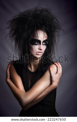 Witch.  girl in style Halloween.  - stock photo
