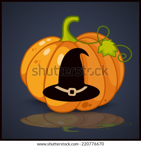 witch hat, banner and background for pumpkins for Halloween