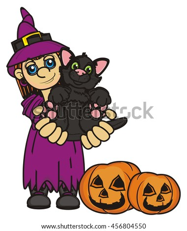 Witch holds in the hands of a black cat