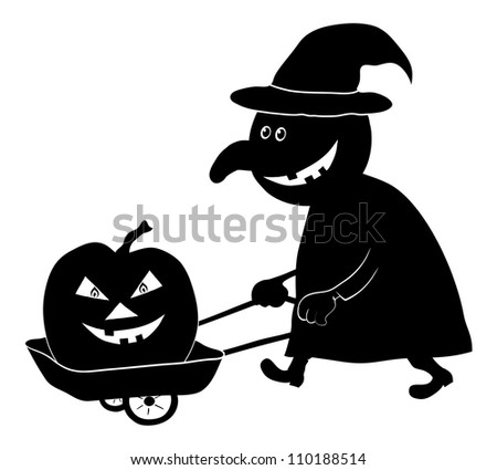 Witch on a cart driven by a pumpkin, the image of a holiday Halloween, black silhouette on white background - stock photo