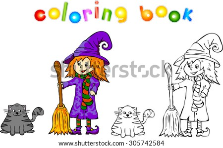 Witch with black cat. Funny cartoon illustration for halloween. Coloring book