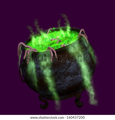 Witches Cauldron - a witches cauldron boils with worms and skinned eyeballs and what ever else evil cooks inside.  Green smoke pours down the side while the liquid bubbles.  Isolated on dark purple. - stock photo
