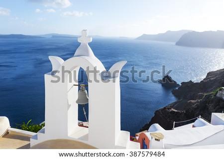Wite church in Oia, Santorini, Greece - stock photo