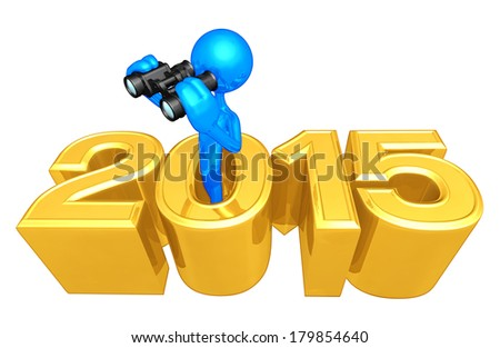 With Binoculars Coming Out Of The Year - stock photo