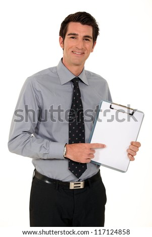With blank clip-board - stock photo