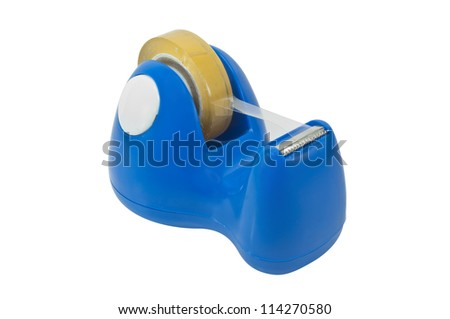 With clear tape, tape blue dispenser. Isolated on white.