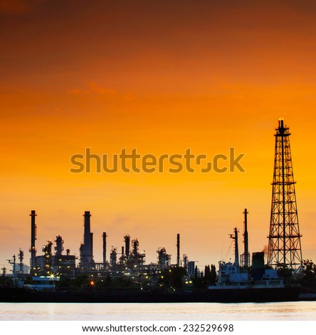 with copy space golden dusky sky use for multipurpose industry landscape scene - stock photo