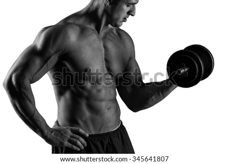 With Dumbbells Over White Background