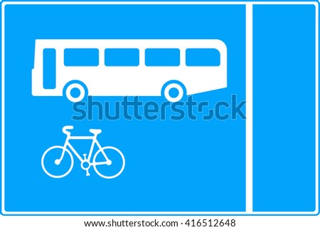 With-flow bus and cycle lane traffic sign - stock photo