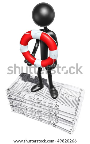 With Life ring On Tax Forms - stock photo